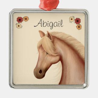 Ornamento personalizado del Palomino y del caballo Adorno Cuadrado Plateado