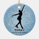 Ornamento personalizado del patinaje de hielo adorno navideño redondo de cerámica
