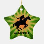 Ornamento personalizado del polo adorno navideño de cerámica en forma de estrella
