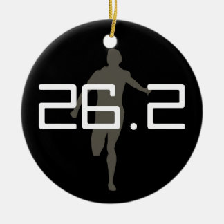 Ornamento personalizado del recuerdo del maratón adorno navideño redondo de cerámica