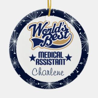 Ornamento personalizado del regalo del auxiliar adorno navideño redondo de cerámica