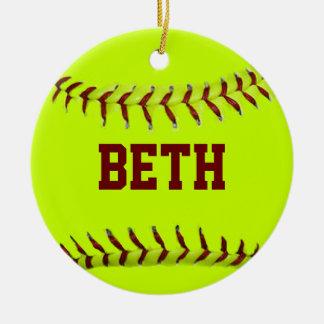 Ornamento personalizado del softball adorno navideño redondo de cerámica