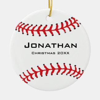 Ornamento personalizado del softball del béisbol adorno navideño redondo de cerámica
