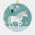 Ornamento personalizado del unicornio y de la hada ornatos