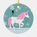 Ornamento personalizado del unicornio y de la hada ornamento para reyes magos