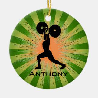 Ornamento personalizado del WeightLifter/del Adorno Navideño Redondo De Cerámica