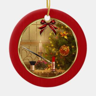 Ornamento personalizado día de fiesta rojo del ornato