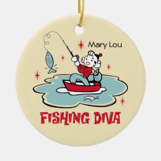 Ornamento personalizado diva retra de la pesca adorno de navidad
