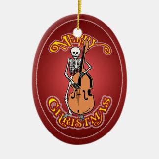 Ornamento personalizado esqueleto de Navidad del Adorno Navideño Ovalado De Cerámica