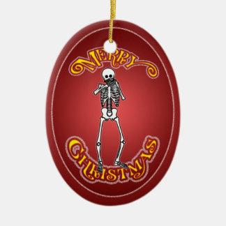Ornamento personalizado esqueleto del navidad de adorno navideño ovalado de cerámica