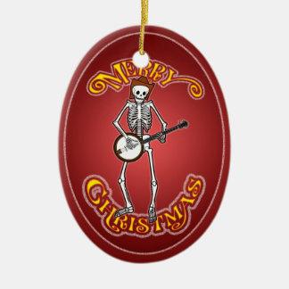 Ornamento personalizado esqueleto del navidad del adorno navideño ovalado de cerámica
