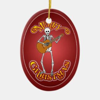 Ornamento personalizado esqueleto español de adorno navideño ovalado de cerámica