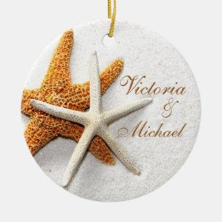 Ornamento personalizado estrellas de mar adorno redondo de cerámica