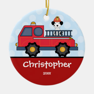 Ornamento personalizado Firetruck del navidad del Adorno Redondo De Cerámica