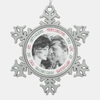 Ornamento personalizado foto de los saludos del adorno de peltre en forma de copo de nieve