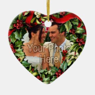 Ornamento personalizado foto del corazón de la ornamentos de navidad