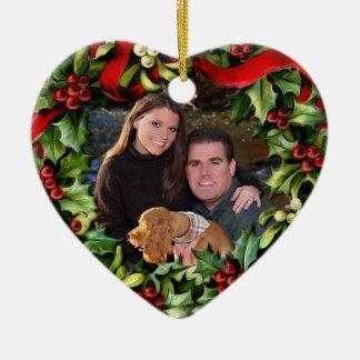 Ornamento personalizado foto del corazón de la adorno de reyes