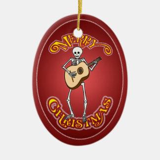 Ornamento personalizado Guitarron esquelético del Adorno Navideño Ovalado De Cerámica