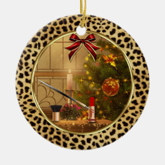 Ornamento personalizado impresión del guepardo del adorno navideño redondo de cerámica