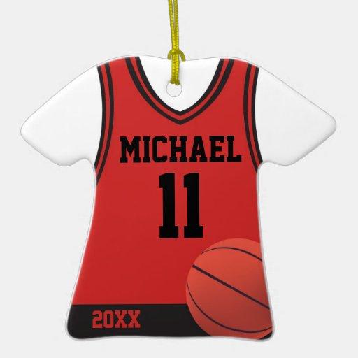 Ornamento personalizado jersey del baloncesto ornamentos de reyes magos