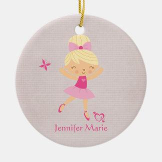 Ornamento personalizado lindo de la bailarina del adorno navideño redondo de cerámica