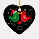 Ornamento personalizado Lovebirds del navidad Ornamento Para Arbol De Navidad