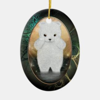 Ornamento personalizado mullido del oso polar adorno ovalado de cerámica