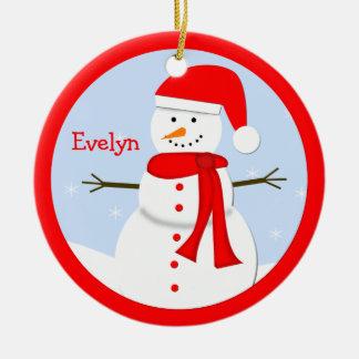 Ornamento personalizado nombre del muñeco de nieve adorno redondo de cerámica