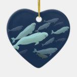 Ornamento personalizado ornamento de la ballena de adorno navideño de cerámica en forma de corazón