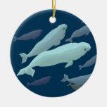 Ornamento personalizado ornamento de la ballena de adorno navideño redondo de cerámica