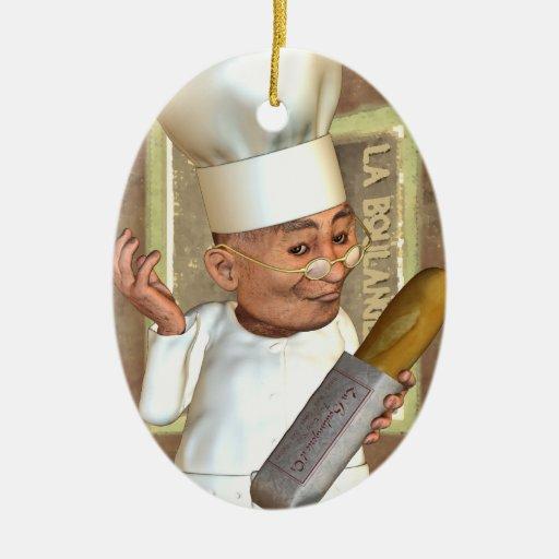 Ornamento personalizado panadería francesa adorno navideño ovalado de cerámica