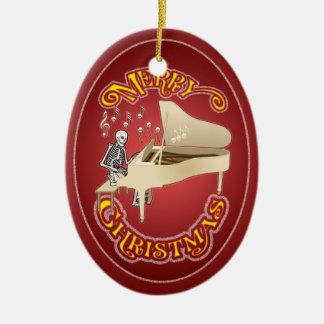 Ornamento personalizado piano esquelético del adorno navideño ovalado de cerámica