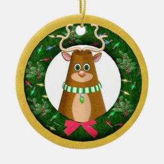 Ornamento personalizado redondo del reno del adorno para reyes