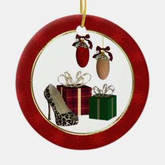 Ornamento personalizado regalos del estilete del adorno navideño redondo de cerámica