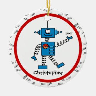 Ornamento personalizado robot rojo del navidad del adorno navideño redondo de cerámica