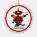 Ornamento personalizado robot rojo del navidad del ornamentos de reyes