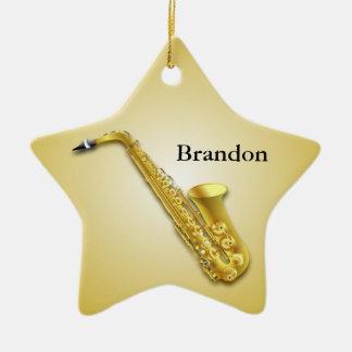 Ornamento personalizado saxofón del navidad de la adorno navideño de cerámica en forma de estrella