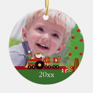 Ornamento personalizado tren de la foto del navida adornos de navidad