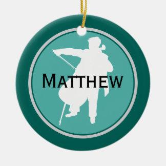 Ornamento personalizado violoncelo del navidad de adorno navideño redondo de cerámica