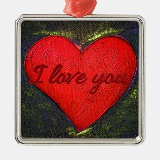 Ornamento pintado del corazón adorno navideño cuadrado de metal