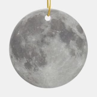 Ornamento plateado de la luna adorno navideño redondo de cerámica