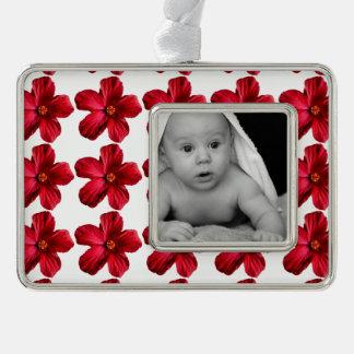 Ornamento plateado plata enmarcado flor roja del adornos con foto
