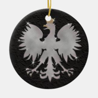Ornamento polaco de Bling Eagle Adorno Navideño Redondo De Cerámica
