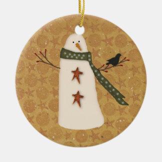 Ornamento primitivo del muñeco de nieve del país adornos