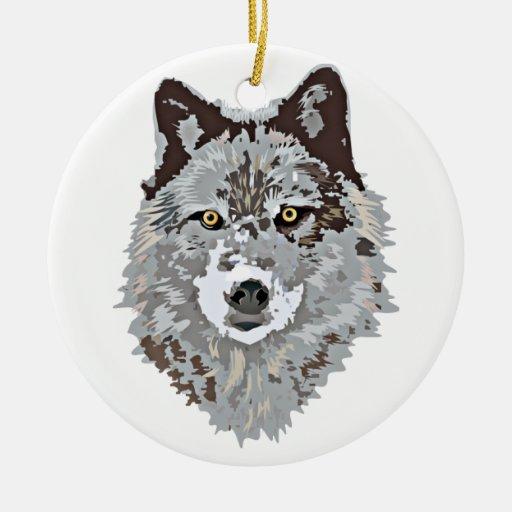 Ornamento principal del lobo estilizado adorno navideño redondo de cerámica