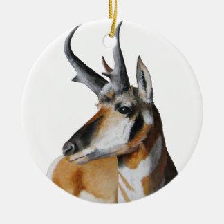 Ornamento principal del navidad del antílope adorno redondo de cerámica