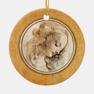 Ornamento principal femenino del dibujo de adorno navideño redondo de cerámica