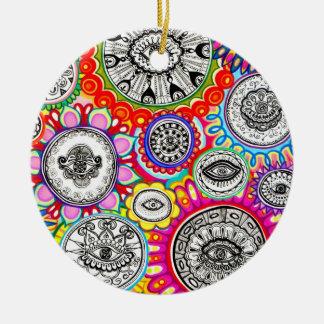 Ornamento psicodélico de los ojos adorno navideño redondo de cerámica