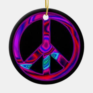 Ornamento psicodélico del signo de la paz adornos de navidad