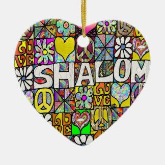 Ornamento psicodélico retro del AMOR de 60s Shalom Adorno Navideño De Cerámica En Forma De Corazón